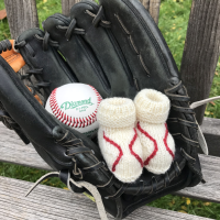 knitted baseball baby booties