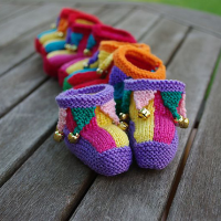 knitted jester baby booties with bells