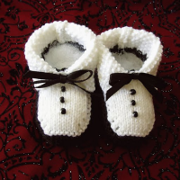 knitted tuxedo baby booties