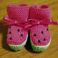 knitted watermelon baby booties